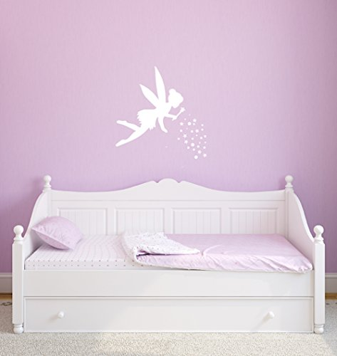 Fairy Nursery (Fairy Wall Decals to Decorate the Bedroom, Nursery, or Playroom for your Little Princess Girl, 12in x 12in, White, Includes Magical Pixie Dust Stickers)