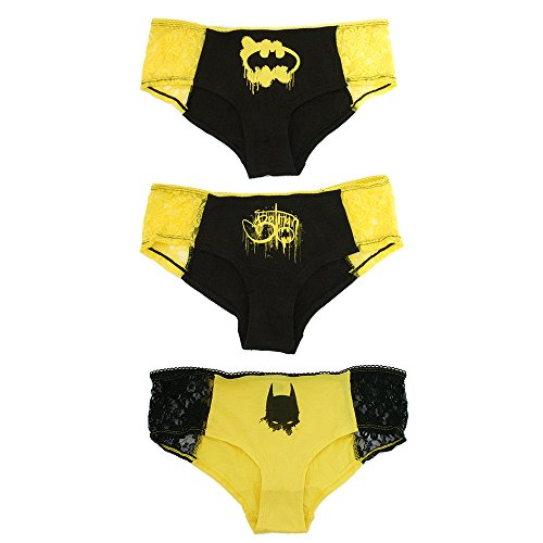 DC Comics Batman Panty Set 3-Pack with Lace Trim (X-Large) (Womens Batman Underwear)