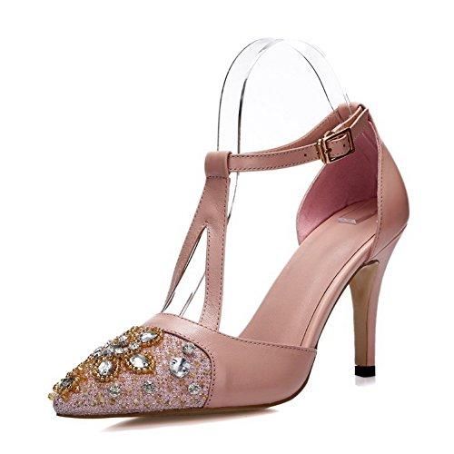 Allhqfashion Womens Stängt Spetsig Tå Koskinn Spänne Höga Klackar Sandaler Med Glas Diamant Rosa