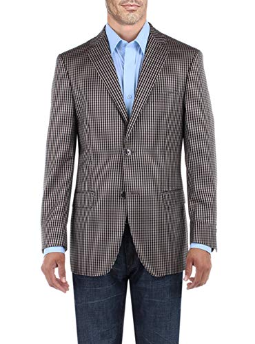 DTI BB Signature Men's Dress Suit Jacket Two Button Check Modern Fit Blazer Coat (50 Long US / 60L EU, Tan) ()