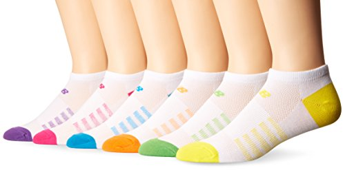 New Balance Women's Arch Support No Show Socks (6 Pack), White/Pink/Orange/Yellow/Green/Blue/Purple, Size 6-10
