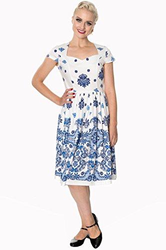 Kleid Weiß Blau Retro Vintage You Follow Oder Banned Weiß PZfzCHnf