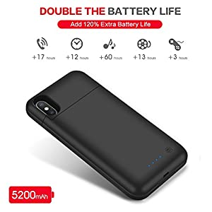 iPhone X Battery Case, 5200mAh Rechargeable Charging Case for iPhone X Extended Power Charger Case for iPhone X iPhone 10 (5.8 inch)- Black (Black)