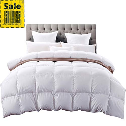 alifornia King Size Siberian Goose Down Comforter,Heavywarmth Winter,Down Comforter King Size, 1200 TC-100% Egyptian Cotton Cover,750 Fill Power,70 oz Fill Weight, White Solid ()