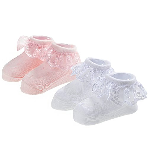 Epeius Baby-Girls Newborn Eyelet Frilly Lace Socks Princess White/Pink (Pack of 2) 3-12 Months from EPEIUS