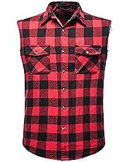 SSBZYES Heren Shirt Zomer Mouwloos Shirt Mens Plus Size Shirt Plaid Shirt Flanel Shirt Mouwloos Katoen Plus Size Vest