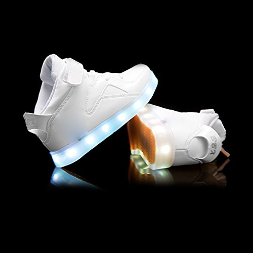 7 Farben blinken USB-Ladesportschuhe der Spinne Kinder Freizeitschuhe leuchtende Schuhe Größe: 27 EU Jugend