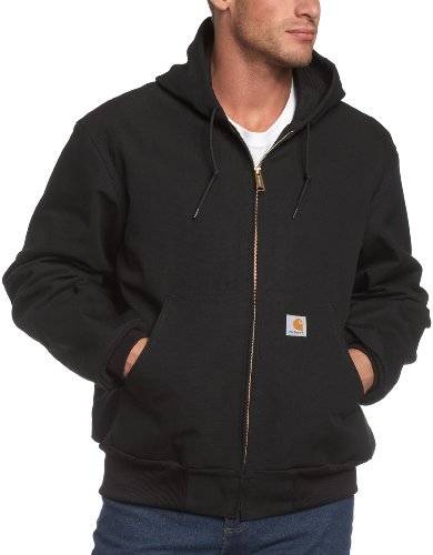 Carhartt Men's Thermal Lined Duck Active Jacket J131 (Regular and Big & Tall Sizes), Black, Large