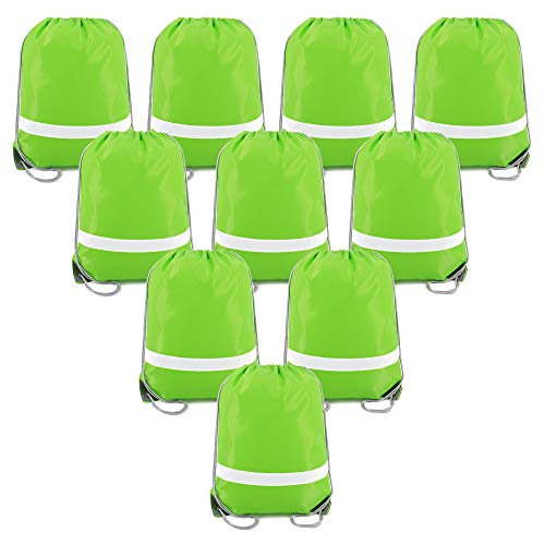Drawstring Backpack Bags Reflective Bulk Pack, Promotional Sport Gym Sack Cinch Bags (10 Green) -