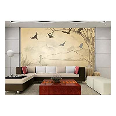 Unbelievable Print, Beige Hand Drawn Sketched Drawn Out Tree and Mountains with Silhouettes of Birds Flying Wall Mural, Made For You