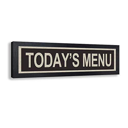 Kas Home Vintage Canvas Wall Art | Today's Menu Prints Signs Rustic Black Framed Plaque | Dining Room Kitchen Decor (5.6 x 17.2 inch, T Black Framed)