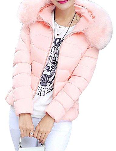 Rosa Mujer Capucha Con Peluda Outwear Abrigos Acolchado Invierno Parka Corta Casual Yeesea Jacket w7tqFt