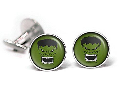 Incredible Hulk Cufflinks, Avengers Jewelry, Hulk Tie Clip, Avengers Cuff Links Link, Superhero Wedding Jewelry, Groomsmen Gift, Groomsman Party Gifts, Fathers Day Present