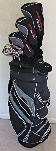 Mens TaylorMade Golf Club Set - Complete Driver, Fairway Wood, Hybrid, Irons, Putter Clubs Cart Bag Stiff Flex Right (Driver Putter Golf Bag)