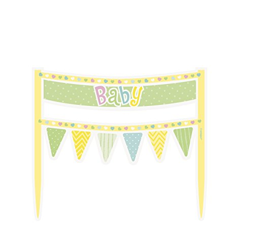 [Polka Dot Baby Shower Cake Bunting Topper] (Costumes Out Of Cardboard Box)