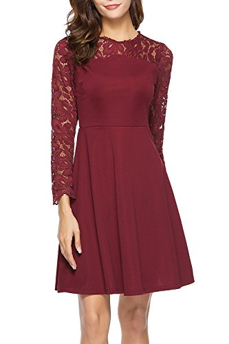 Lyrur Long Sleeve Round Neck Fit and Flare Women's Burgundy Floral Lace Skater Wedding Party Dresses (Burgundy, 9032-S)