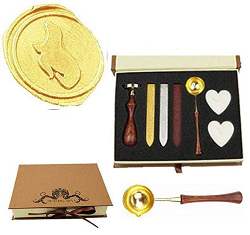 MNYR Vintage Sea Lion Sealing Wax Seal Stamp Wood Handle Melting Spoon Wax Stick Candle Gift Book Box kit Wedding Invitation Embellishment Holiday Card Christmas Gift Wrap Package Seal Stamp ()