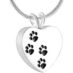 Sterling Silver Four Pet Paw Print Heart Cremation Necklace Hold Dog/Cat Ashes Memorial Urn Jewelry