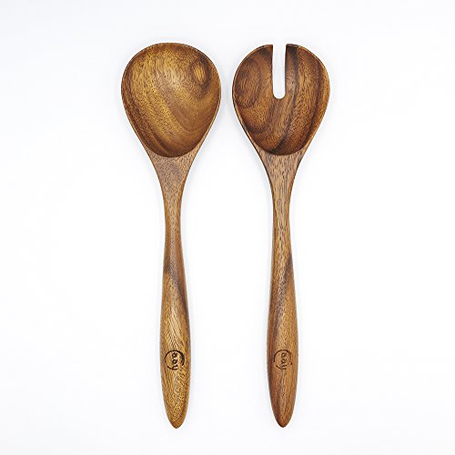 Salad Serving Utensils, Acacia Wood, Salad Spoon and Salad Fork, 13 inches in Length, Salad Servers by FAAY by FAAY (Image #1)