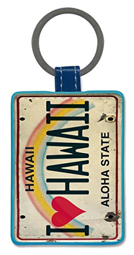 Leatherette Keychain Keyring Key Tag - I Heart Hawaii by Pacifica Island Art