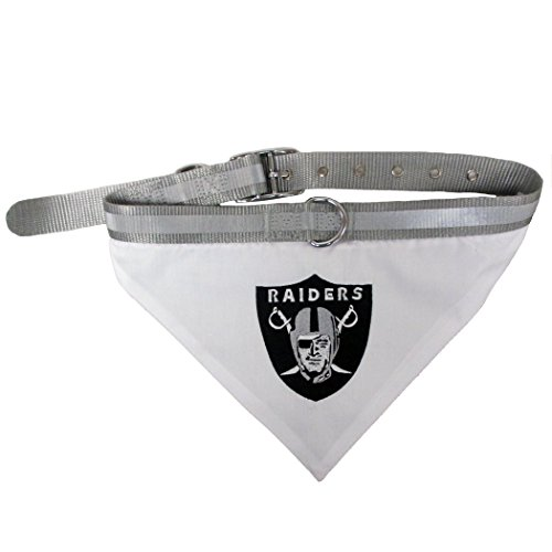 T-Shirts NFL BANDANA - OAKLAND RAIDERS PET BANDANA with Reflective & Adjustable PET COLLAR, Large by T-Shirts