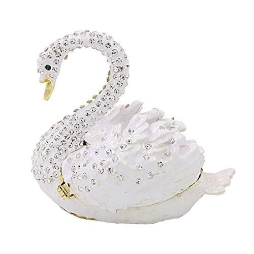 (MICG White Swan Figurine Trinket Box Decorated Crystals Collectible Ring Jewelry Holder Wedding Christmas)