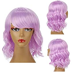 H&N Hair Purple Wigs Short Colorful Bob Wave Wigs for Women 14''synthetic Full Wigs with Bangs Cosplay Halloween Party + Free Wig Cap
