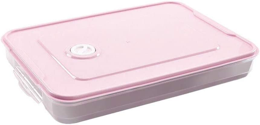 weizhang Single Layer Dumpling Boxes Storage Tray Food Container Box for Keep Fresh Refrigerator Frozen Dumplings Storage Plastic Boxes Pink