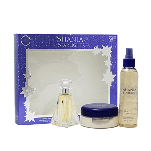 (Shania Twain Starlight Gift Set for Women (Eau De Toilette Spray, Body Mist, Body Souffle))