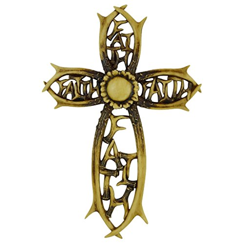Pine Ridge Rustic Faux Antler Shed Faith Cross Uniquely Inscribed Faith - Beautifully Hand-painted and Crafted Polyresin For God-Fearing Outdoorsman (Halloween Cookie Cutters Uk)