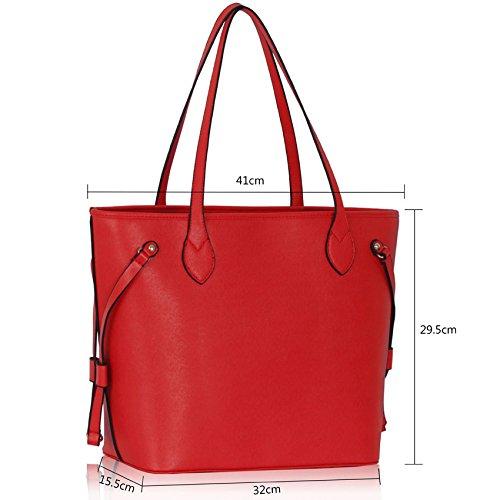 TrendStar - Bolso de asas de piel sintética para mujer negro B - Black/Nude Rojo Bolso De