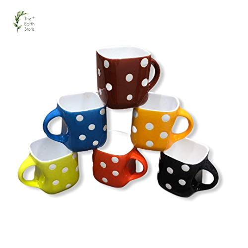 The Earth Store Handcrafted Microwave Safe Ceramic Solid Multi with Dot Printed Tea Cup/Coffee Cup Set with Handle Ideal Best Gift for Friends, Family, Home, Office use, Kitchen Cup Set (Set of 6)