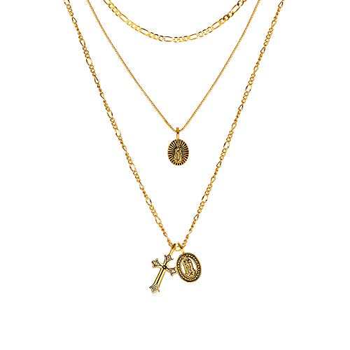 - ACC PLANET Gold Cross Pendant Necklace 14K 18K Gold Plated Figaro Box Chain Choker Valentine's Day Couples Gifts Vintage Layered Necklace for Women (18K Gold Plated Necklace)