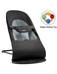 Baby Bjorn 005022US Bouncer Balance Soft Cotton - Black Dark Gray with Rattle Teether Toy BOBEBE Online Baby Store From New York to Miami and Los Angeles