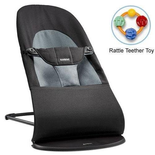 Baby Bjorn 005022US Bouncer Balance Soft Cotton - Black Dark Gray with Rattle Teether Toy by BabyBjörn