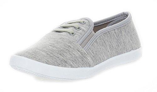 Damen Slipper Sneaker Sommerschuhe in 3 Farben Gr. 36 bis 41 Grau 37