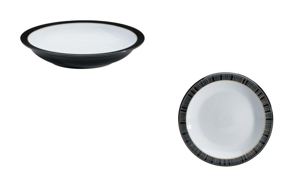 Denby Jet Rim Soup Bowl and Tea Plate, Set of 2