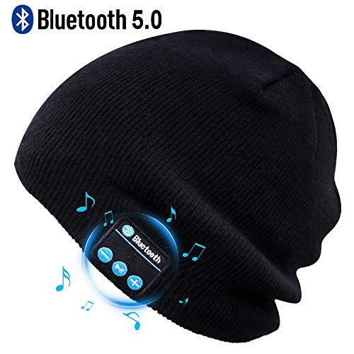 Puersit Bluetooth Beanie Wireless Headphone Hat Music Soft Hat with Stereo Speakers,Winter Knit Hat Wireless Mic Hands-Free for Men Women Teenagers Sports Fitness Travel Birthday Xmas Gift (Black)