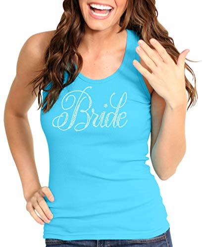 Bride Turquoise Bachelorette Top - Flirty Bride Rhinestone Tank Top - Bridal Shower Supplies - Medium - Turquoise