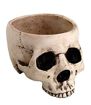 6.75 Inch Ceramic Open Skeleton Skull Figurine Medium Bowl, Beige]()