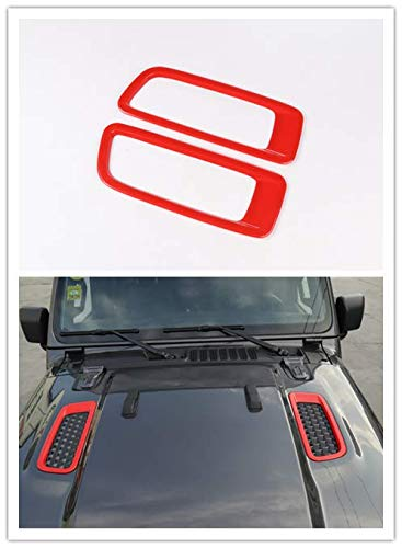 - Highitem Red Carbon Fiber ABS Car Engine Hood Hinge Air Vents Cover Decoration Cover for Jeep Wrangler JL 2018 Up (Red)