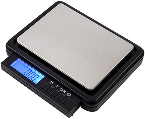 Dual-weighing-range-and-retractable-keypad-pocket-scale-200-g-X-001-g-or-7-oz-X-0001-oz-High-Precision-mode-and-2000-g-X-01-g-or-44-lb-X-001-oz-High-Capacity-mode