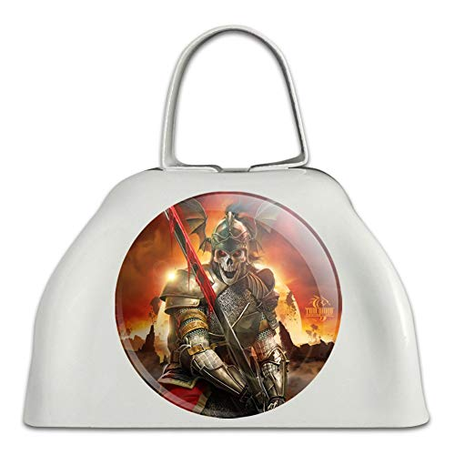 Undead Skeleton Knight Warrior Fantasy White Metal Cowbell Cow Bell Instrument