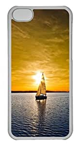 Boat In Sunset Custom iPhone 5C Case Cover Polycarbonate Transparent wangjiang maoyi