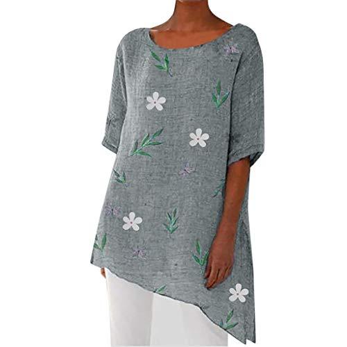 (Aniywn Women Summer Casual Short Sleeve O-Neck Irregular Hem Beach Blouse Print Floral Tunic Tops Gray)