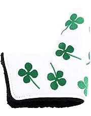Dioche Cubierta de Golf Putter, Club Head Protector PU Cubierta de Golf Putter Verde Accesorio de Tapa de TréBol de Cuatro Hojas Verde para la Actividad de Golf(Blanco)