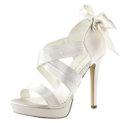 Amazon.com | Womens Ivory Bridal Shoes Platform Sandals Strappy ...