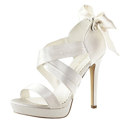 - Summitfashions Womens Ivory Bridal Shoes Platform Sandals Strappy Open Toe 4 3/4 inch Heels Size: 8