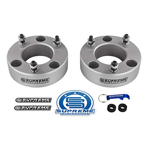 Supreme Suspensions - F150 Lift Kit Front 2' Leveling Lift Kit for [2004-2019Ford F-150] and [2003-2018 Ford Expedition] SILVER Aircraft Billet Strut Spacers