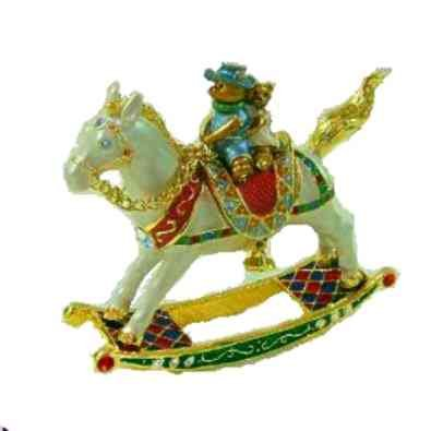 - 3D Swarovski Crystals Rocking Horse Box Baby Brother and Sister Teddy Bears Collectible, Limited Edition, Figurine